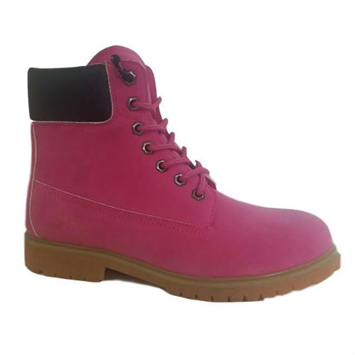 Pink PU  Nubuck Leather Upper  Cemented Basic 6 Inches Casual Boot