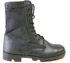 Black Action Leather+Nylon Upper Military Work Boots