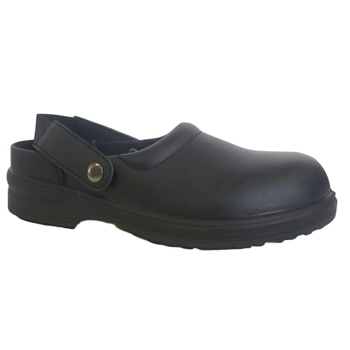 Black Action  Leather  Slip Resistant Oxford Safety Kitchen Shoe